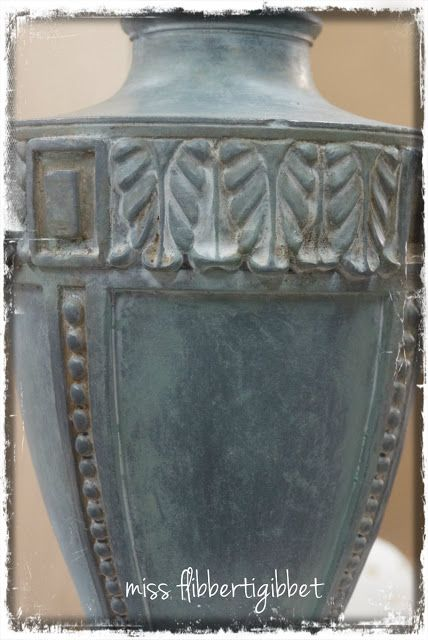 """How to: Zinc Faux Finish - This started as a shiny brass lamp. First she painted it with dark gray primer & then with gesso and then a coat of  ASCP """"Duck Egg Blue"""".  Dark wax was then rubbed into some of the crevices and the entire piece was finished with a coat of clear wax and buffed to get a dull shine."""