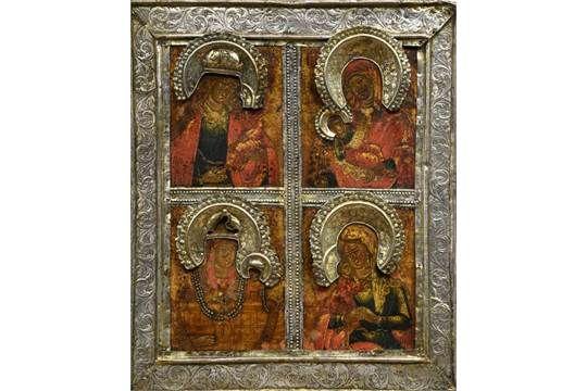Ikone, Russland, Ende 18. Jh., vierteilige Darstellung der Maria mit Kind, Silberoklad, Meisterpu