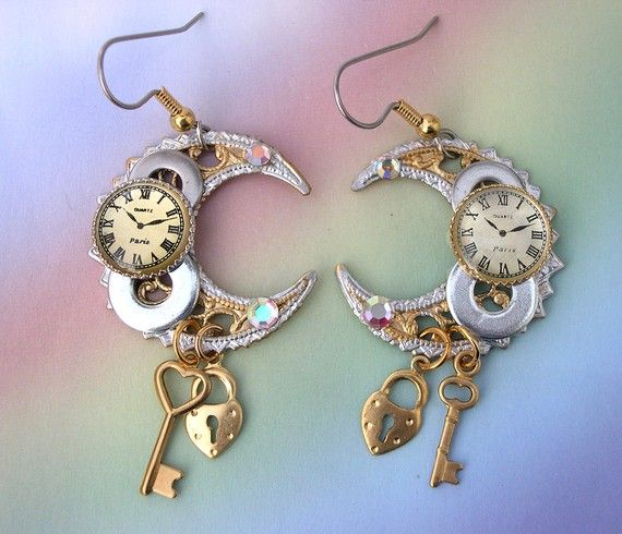 Steampunk Earrings - Watch Clock - clockwork steam punk gears parts rhinestones, Celestial crescents, steam punk earrings