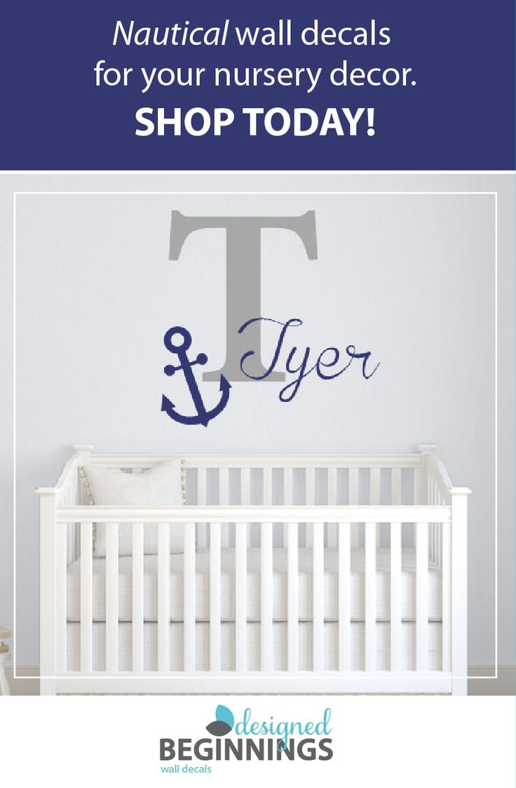 Nautical nursery decor is such a cute way to style any baby nurser. These Personalized name wall decals are an easy way to add a personal touch. Anchor wall decal, Nautical bedroom decor, Nautical wall decor, Anchor decor