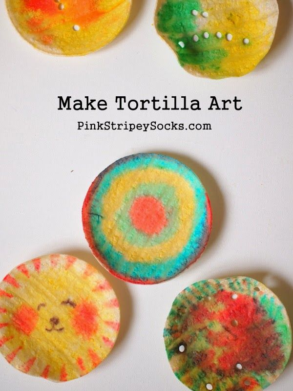 edible art...made with tortillas and food coloring.  Fun snack idea for summer school?