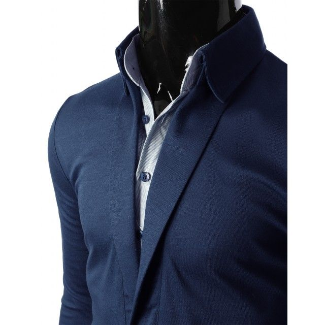 Doublju Mens Button Down Shirt Layered Polo Collar T-Shirts (KMTTL061)