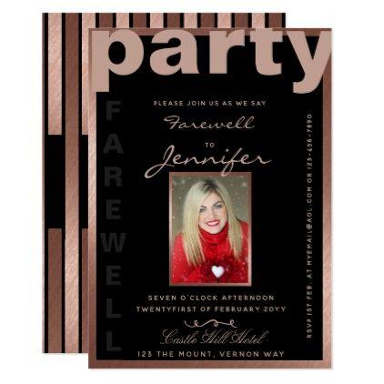 Modern FAREWELL ROSE GOLD PHOTO Invite - chic design idea diy elegant beautiful stylish modern exclusive trendy