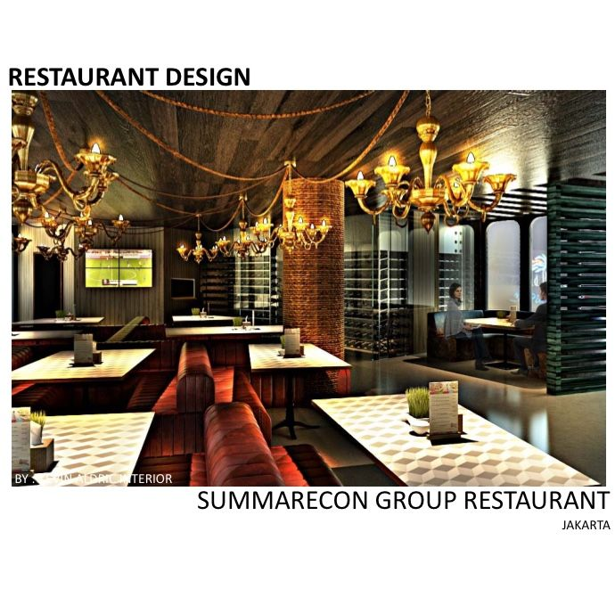Wine bar and restaurant design designed by Kevin Aldric Interior. client: Summarecon group jakarta La piazza. Inspired by fisherman bar.