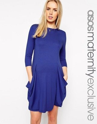 ASOS Maternity Swing Dress With Pleat Detail And Slouchy Pockets - Shop for women's Dress - cobalt