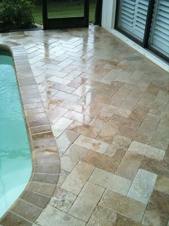 Travertine herringbone 6 12 paver pool deck new tampa for Florida pool and deck