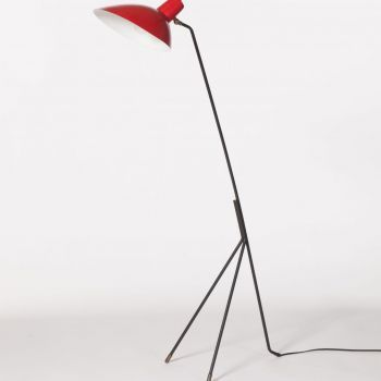 LAMP IN BLACK METAL BASE WITH RED-LACQUERED CONE • 1950 • Vittoriano Vigano (1919 – 1996)