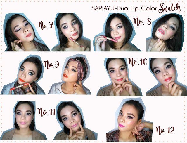 Swatch Lipstik Matte plus Lip gloss dari Sariayu Krakatau 2016