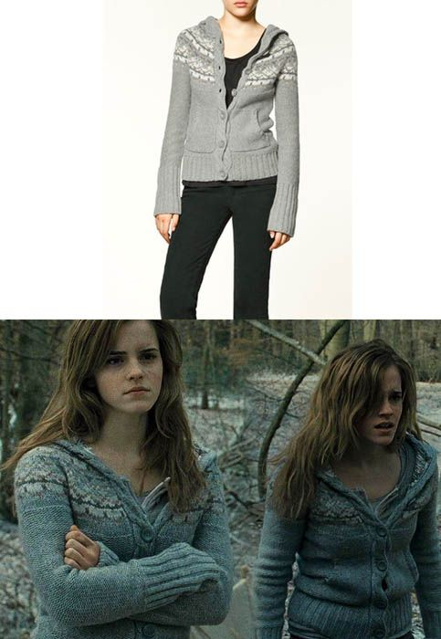 Emma wore a Zara Fairisle Knitted Button Cardigan as Hermione Granger in Harry Potter and the Deathly Hallows part 1.