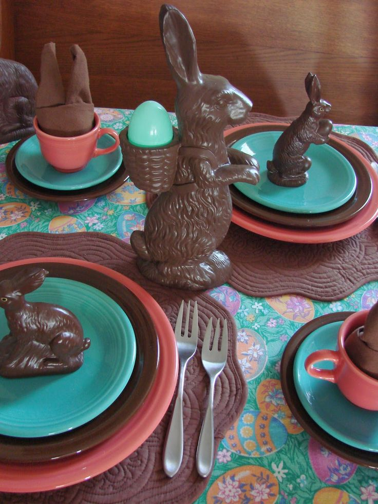 The Victorian Cottage: Chocolate bunny tablescape