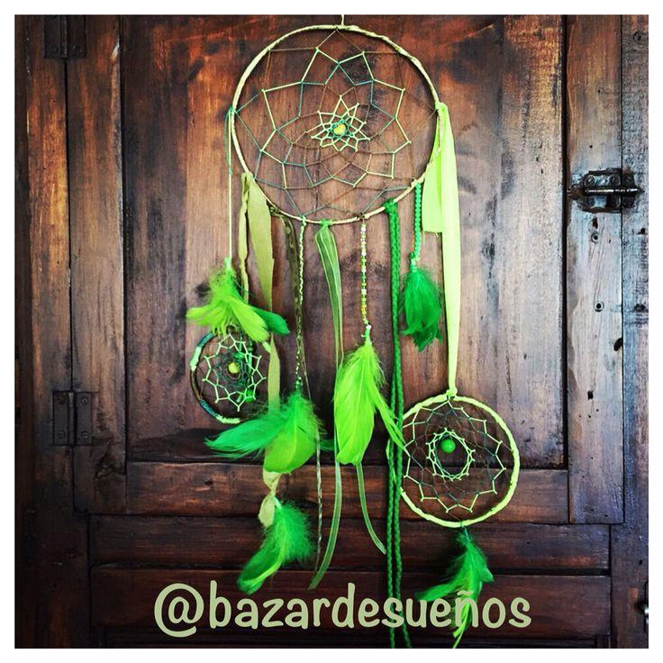 Atrapasueños verde con 3 aros