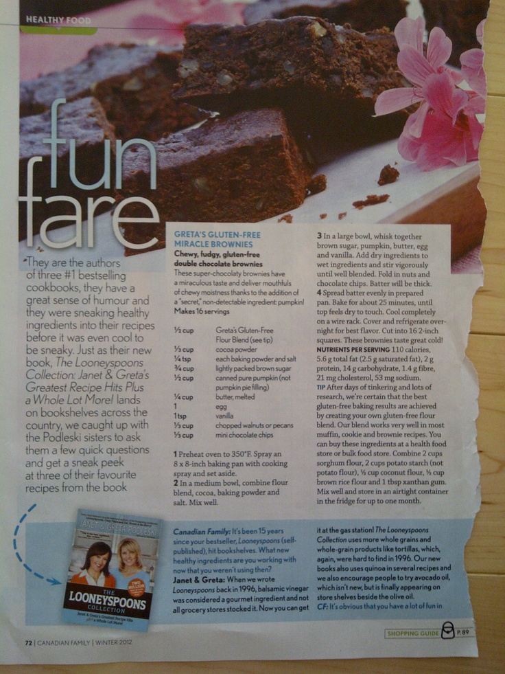 Greta's Gluten-Free Miracle Brownies/Canadian Family Magazine/Winter 2012/from: The Looneyspoons Collection: Janet & Greta's Greatest Recipe Hits Plus a Whole Lot More! by Janet & Greta Podleski, 2011.