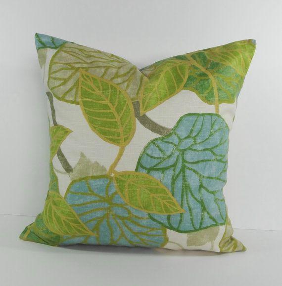 Green, Blue Robert Allen Fabrics, Designer Pillow Cover, Throw Pillow Cushion, Light Blue, Green ...