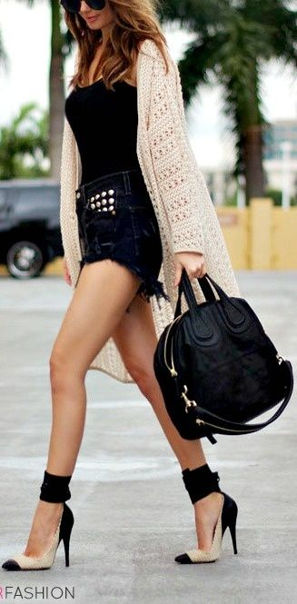 Trendy heels with wrap around ankles, high-waist jean shorts and that cardigan ! Ugh love love love this look!