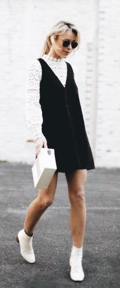 Layering Goals White Lace Shirt Under Black Suede Dress Wardrobe