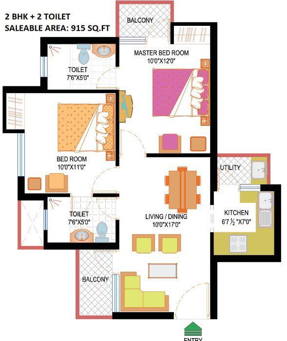 Floor plan-2 Bhk