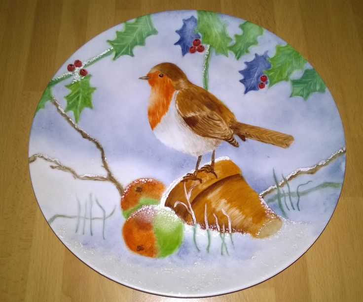 Porcelain painting ; christmas robin