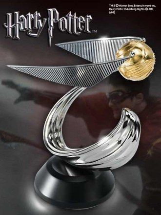 Polystone Statue from Harry Potter It is made by Noble Collection.  http://harry-potter.minimodelfilmstuff.co.uk/harry-potter-collectable/harry-potter-golden-snitch-statue-noble-collection-nn7144