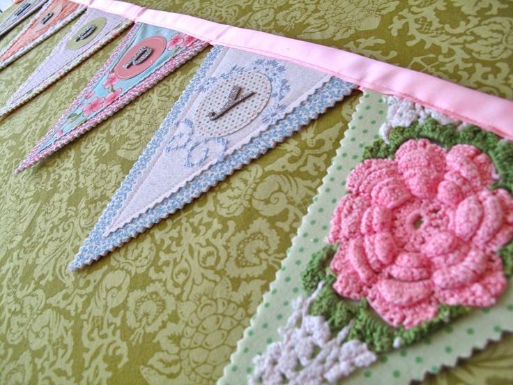 layering fabrics - Happy Birthday flag banner vintage linens fun new by KimHerring