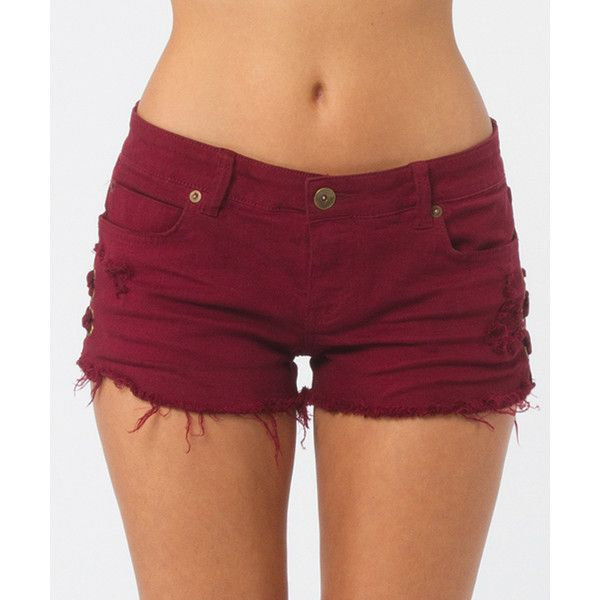 Billabong Women's Lite Hearted Side Tie Denim Shorts ($25) ❤ liked on Polyvore featuring shorts, bottoms, pants, jeans, shiraz, walkshorts, billabong shorts, destroyed denim shorts, jean shorts and torn shorts