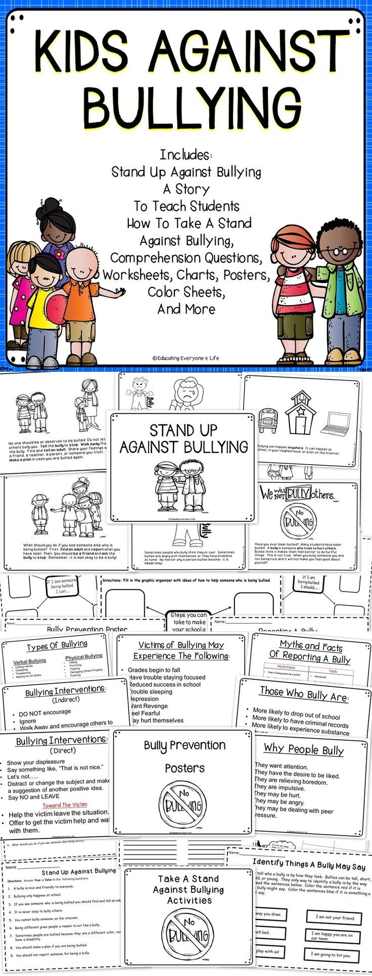 worksheet Bullying Worksheets 1000 ideas about bullying worksheets on pinterest kids against this bully prevention activity pack includes everything you need to teach students