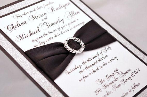 Stunning Black & Silver Glitter Wedding Invitation by InviteBling, $5.10