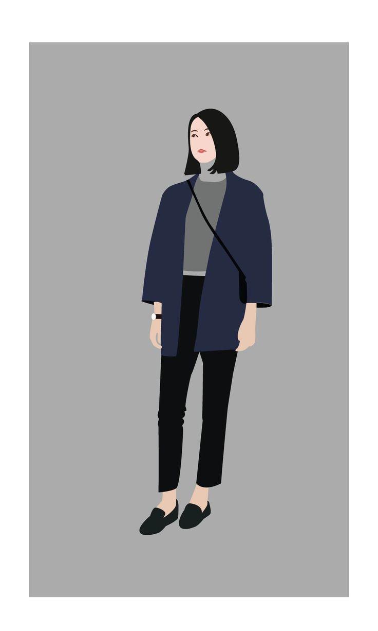 grey girl fashion flat design
