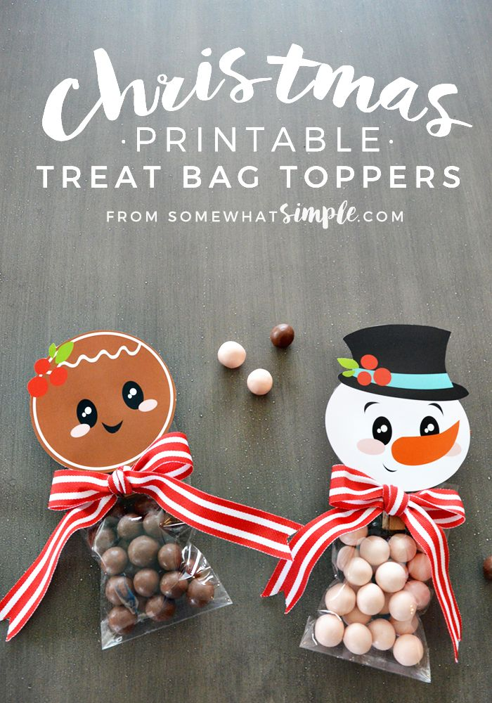 CHRISTMAS - These Christmas Treat Bag Toppers can be used as gifts, party favors, place settings, bribes…. the list is endless.  via @somewhatsimple