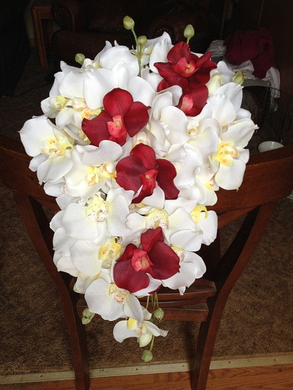 White and Red Cascading Orchid Bridal Bouquet by thewildbride, $60.00