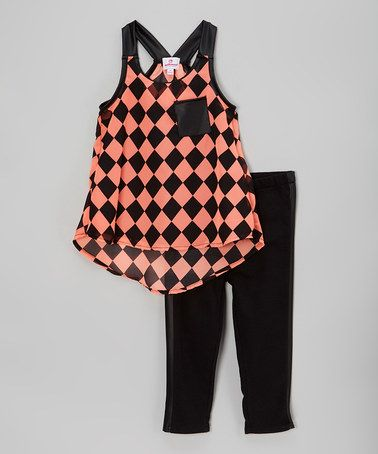 Love this Pink & Black Checkerboard Top & Leggings - Toddler & Girls on #zulily! #zulilyfinds