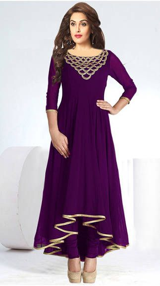 Buy Cloe Anarkali Semi-Stitched Kurti- Purple at lowest price
