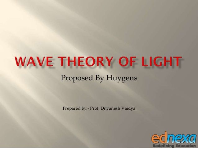 Proposed By Huygens Prepared by:- Prof. Dnyanesh Vaidya