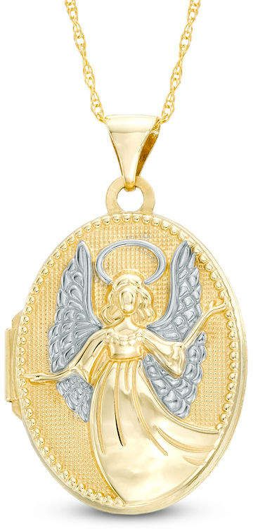Oval Inscribed Guardian Angel Locket in 10K Two-Tone Gold