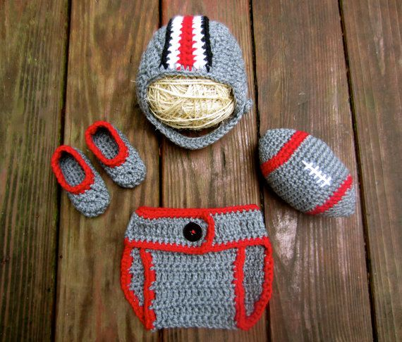 Ohio State Baby Boy Set - OSU Buckeyes baby hat, booties, diaper cover, and…
