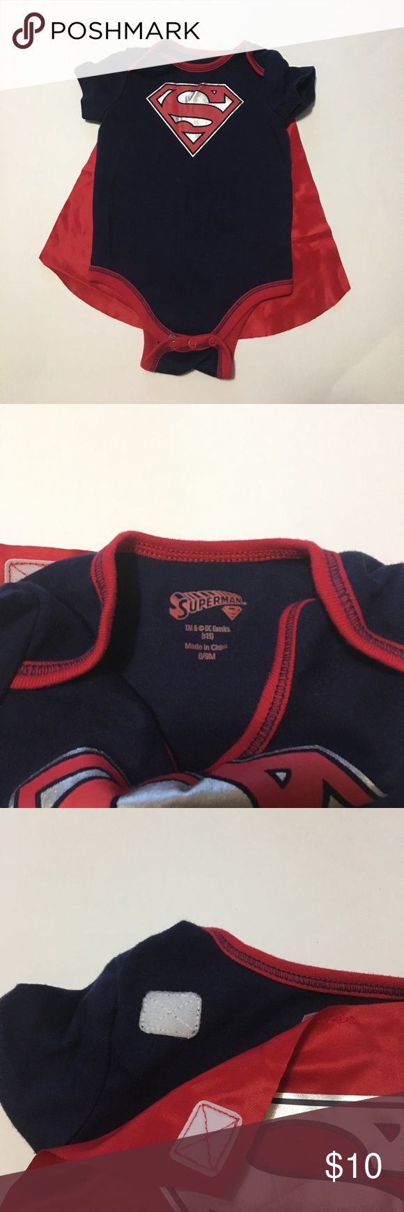 Superman Outfit 6-9M Superman outfit in perfect condition. Onesie completed with a removable cape!!! 😀Super cute. Velcro attaches cape to onesie. Superman Costumes Superhero