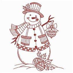 Snowman Redwork embroidery design