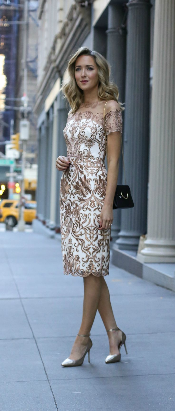 Rehearsal Dinner Dress for the Bride. Rose gold and white lace sheath dress and gold ankle strap pumps.