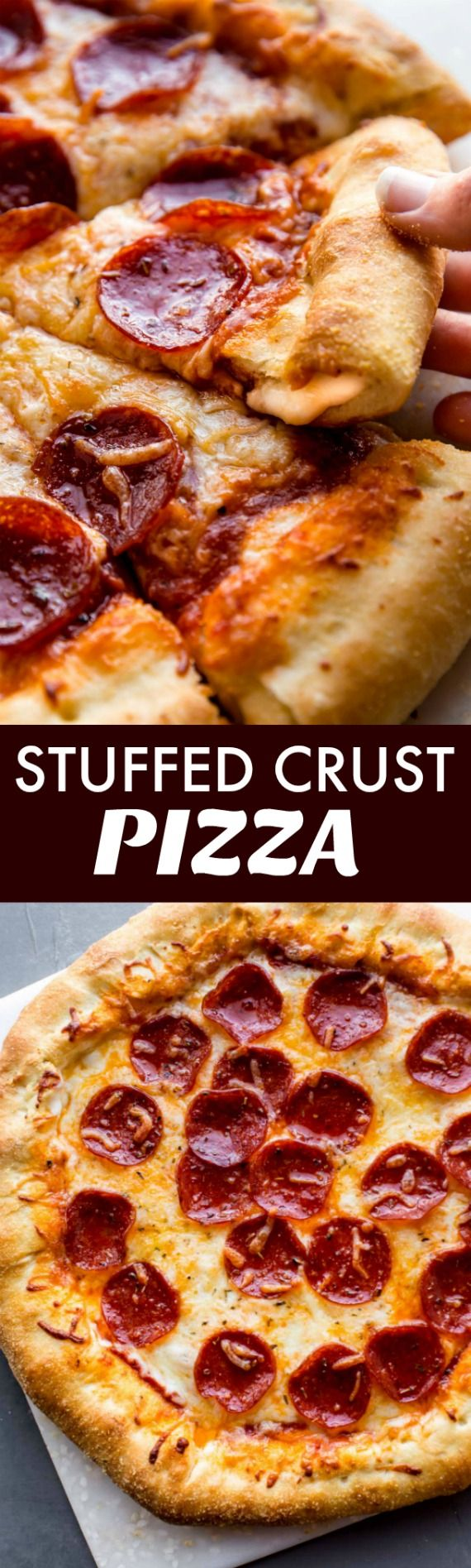 How to make stuffed crust cheese pizza with homemade pizza crust the easy way! Pepperoni pizza recipe on sallysbakingaddiction.com