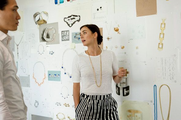 Francesca Amfitheatrof in the Tiffany studio with sketches of her first collection, which launches this month.
