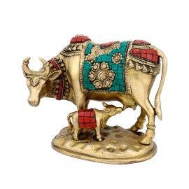 Brass Hindu Religious Spiritual Animal Kamdhenu Cow Statue Figurine