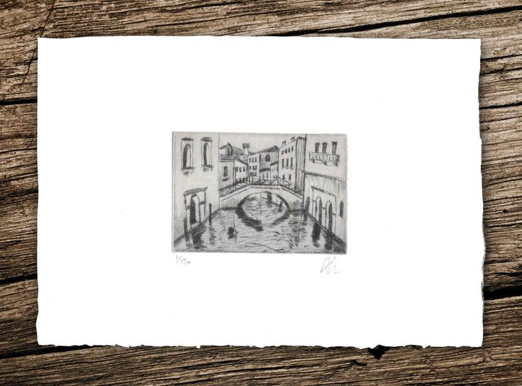Piscina de Frezzaria Bridge Drypoint #drypoint #engraving #art #printmaking #venice