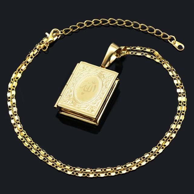 Muslim Allah Quran Book Pendant Necklaces