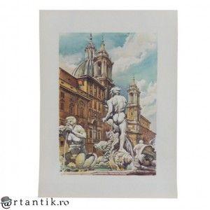 litografie - Fontana din Moro - Angelo Marinucci