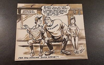 Walt Munson Original Cartoon Art Rough Idea Train Sports Football NY Giants