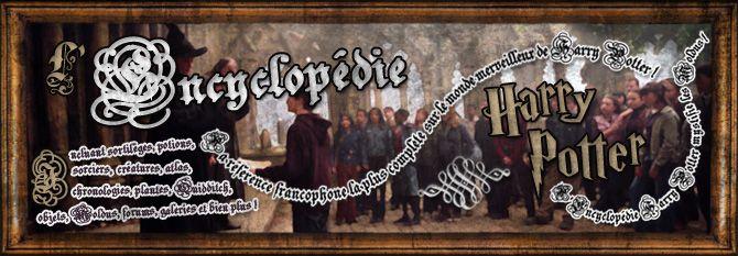 L'Encyclopédie Harry Potter - la référence francophone la plus complète sur le monde merveilleux de Harry Potter ! Incluant sortilèges, potions, plantes, atlas, sorciers, créatures, chronologies, Quidditch, objets, Moldus, forums, galeries et bien plus ! L'Encyclopédie Harry Potter mystifie les Moldus !