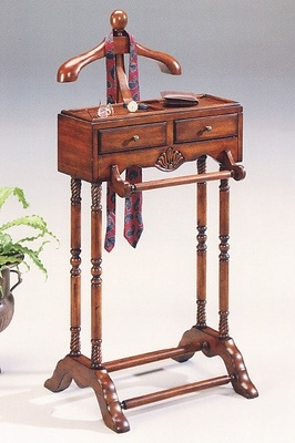 Butler Cherry Clothes Valet Furniture Stand with Storage