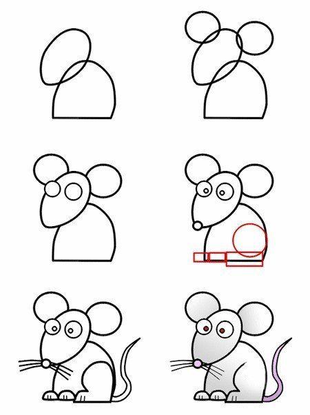 Tekenles voor kinderen. Hoe teken je een muis stap voor stap. | groep 4 groep 5 groep 6 | How to draw a mouse step by step | primary school |