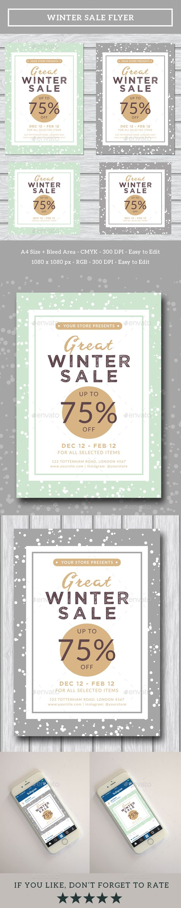 Winter Sale Flyer + Instagram Banner — Photoshop PSD #snow #winter sale flyer • Download ➝ https://graphicriver.net/item/winter-sale-flyer-instagram-banner/19198409?ref=pxcr