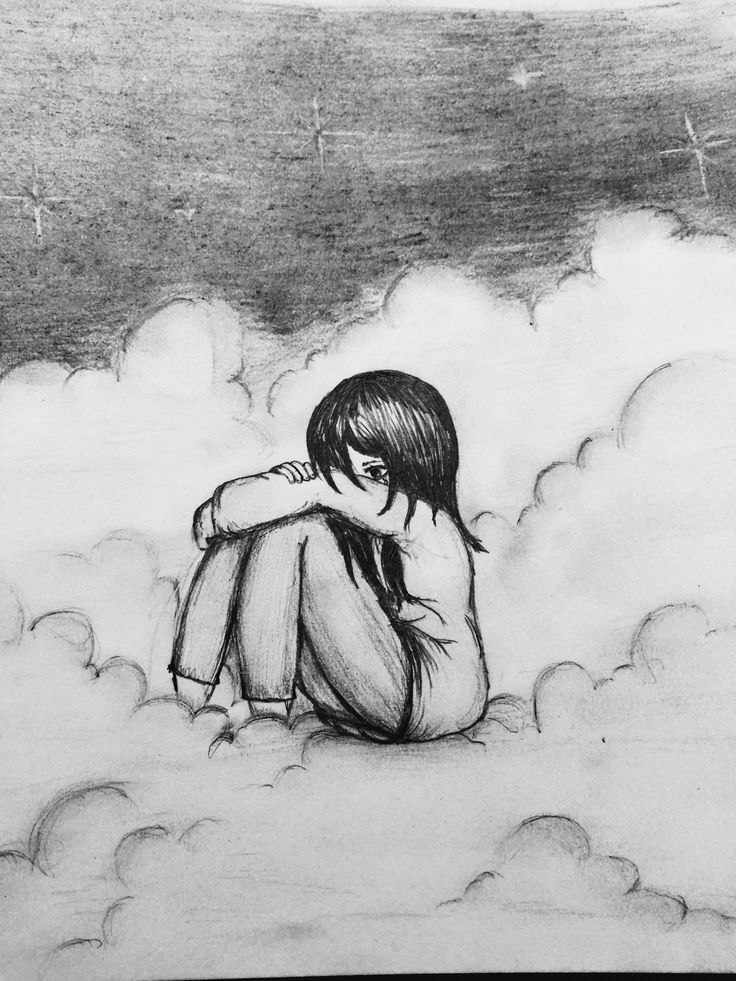 Alone in the clouds pencil drawing