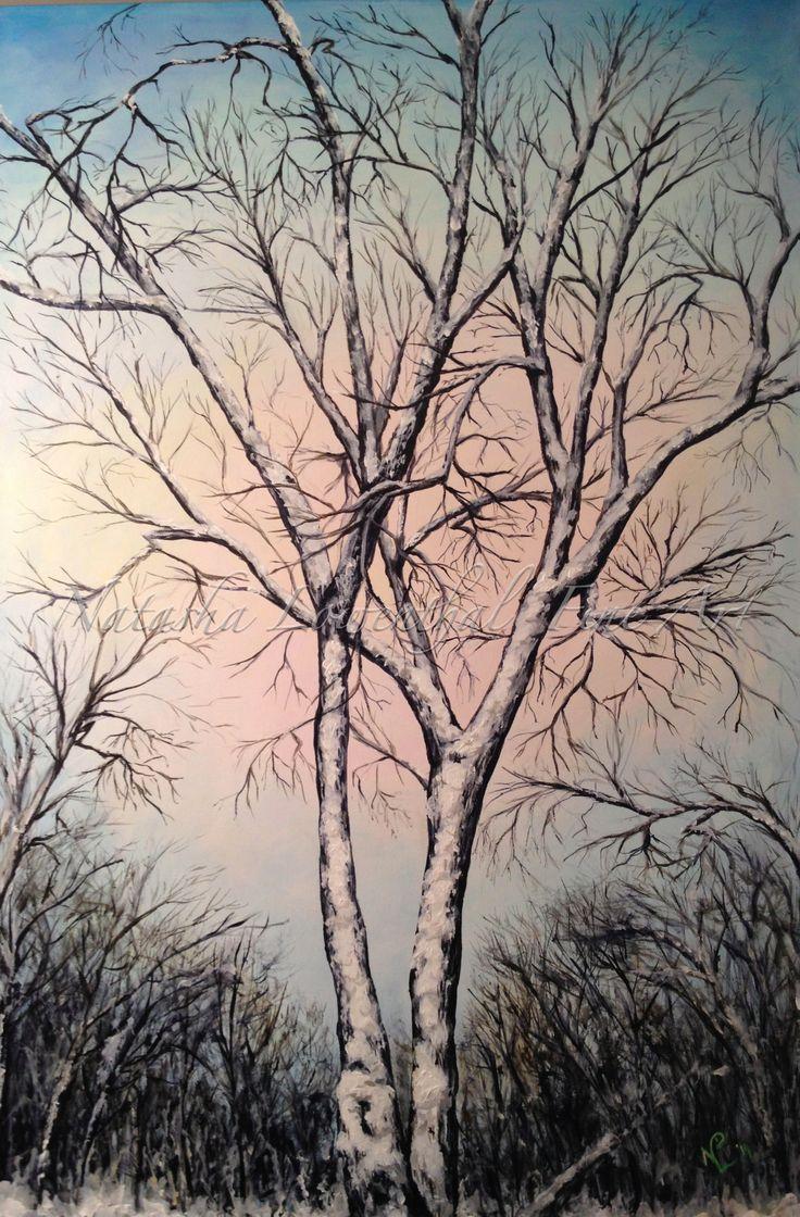 """Maple at Rest"" 24""X36"" acrylic on canvas $965 www.natashalowenthal.com #wintertree #fineart #manitoba"